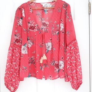 Time and Tru Pink Sheer Floral Print Blouse Large